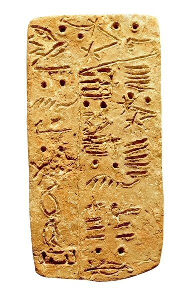 Linear A, the Cretan writing system, is inscribed on this tablet from circa 1500 B.C. [DAGLI ORTI/ART ARCHIVE]