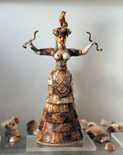 Minoan art featured distinctive depictions of female forms—both divine and mortal. Perhaps the most famous is the Snake Goddess which dates to the 18th to 16th centuries B.C., this statue was found at Knossos and is now at Heraklion Archaeological Museum, Crete. [DEA/SCALA, FLORENCE]