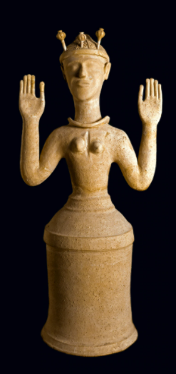 Perhaps representing priestesses or deities, female figurines, including this one, were found in the sanctuary of Gazi in Crete. Their upraised arms indicate an attitude of devotion. The crown of poppies possibly identifies her as a goddess of sleep or death. [WHITE IMAGES/SCALA, FLORENCE]