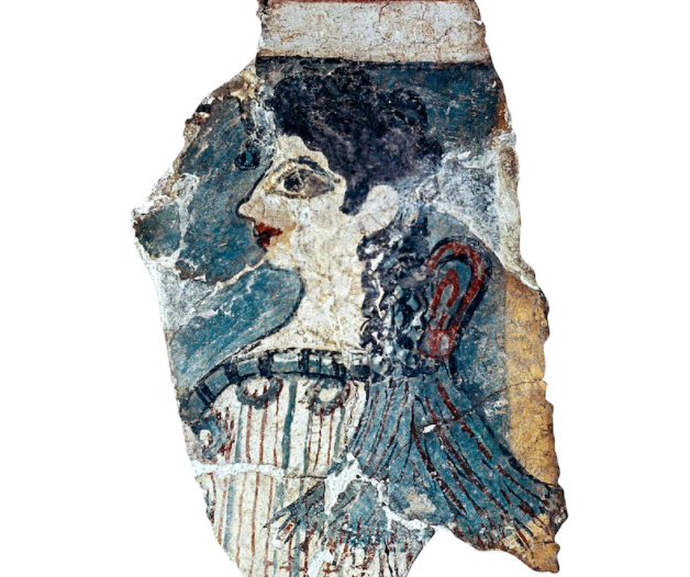 Found in Knossos, this fragment of a Minoan fresco reveals an appreciation for the beauty and stength of mortal women in Minoan art. As this young woman is depicted here, female figures were often shown with long curls in their hair and red lips. [ORONOZ/ALBUM]