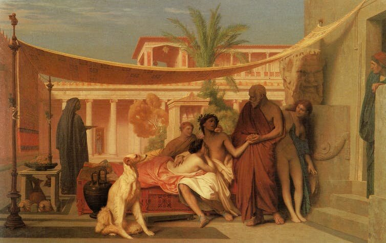 Socrates seeking Alcibiades in the House of Aspasia by Jean-Leon Gerome (1861).    Wikiart