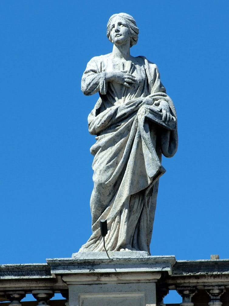 Saint Macrina on the colonnade of St Peter's square. Wikimedia Commons
