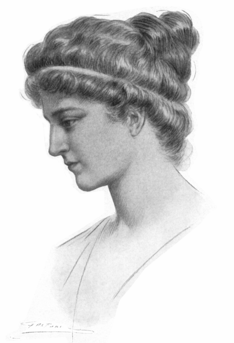 A portrait of Hypatia by Jules Maurice Gaspard, originally the illustration for Elbert Hubbard's 1908 fictional biography.    Wikimedia Commons