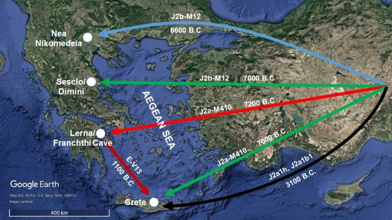Map showing locations of collection of biological material from areas where we know the existence of Neolithic settlements in Greece. Possible ways for the movement of Neolithic populations of farmers from the Near East to the geographical area of Greece.