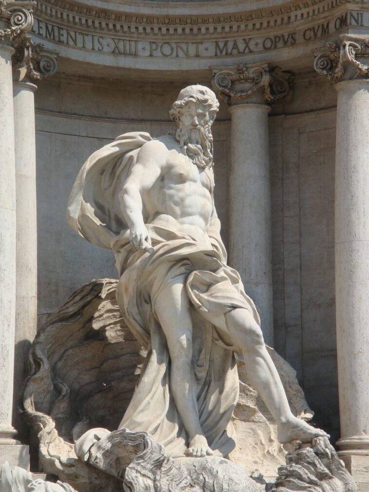 Oceanus depicted on the Trevi Fountain in Rome