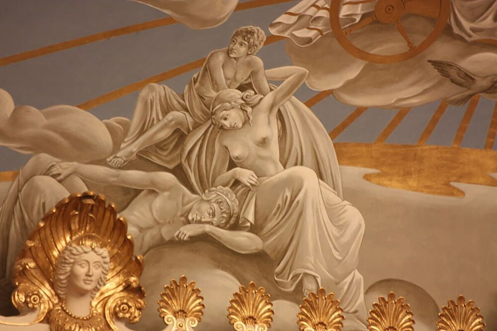 Helios, Selene, and Eos, following the sun carriage, in the mural above the stage of the Friedrich von Thiersch hall in the Kurhaus Wiesbaden, Germany