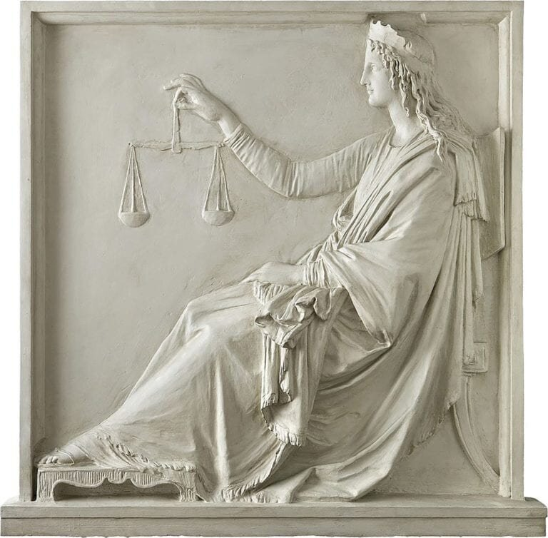 Themis with scales, bas-relief plaster cast depicting the Goddess of Justice