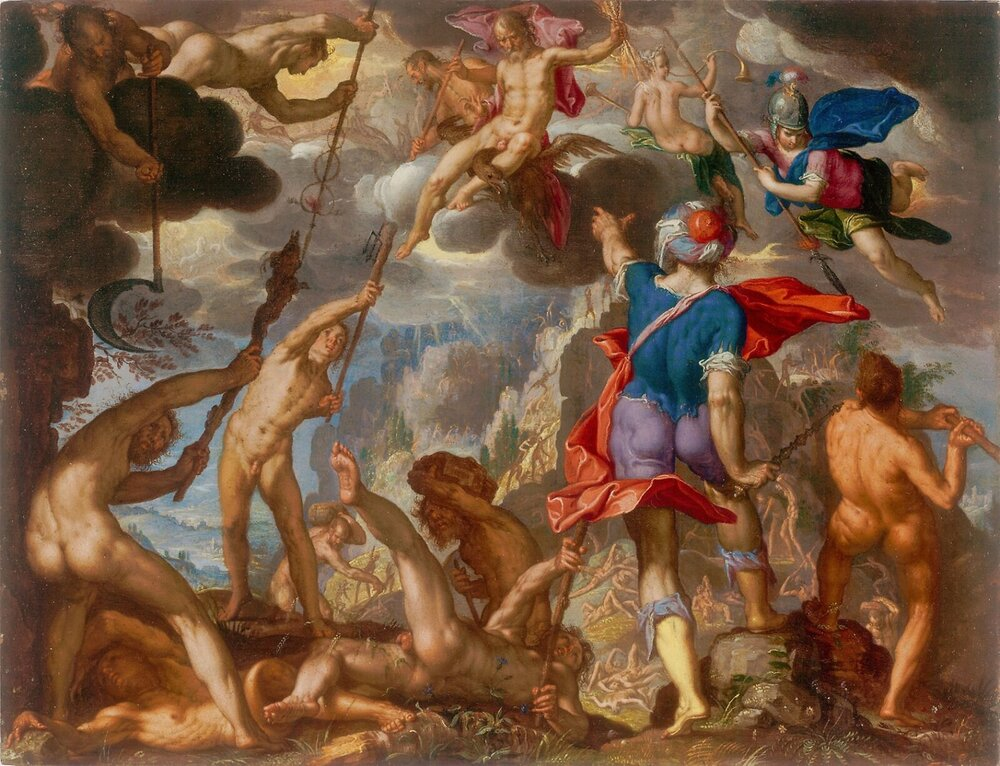 The Battle Between the Gods and the Titans by Joachim Wtewael in the Art Institute of Chicago
