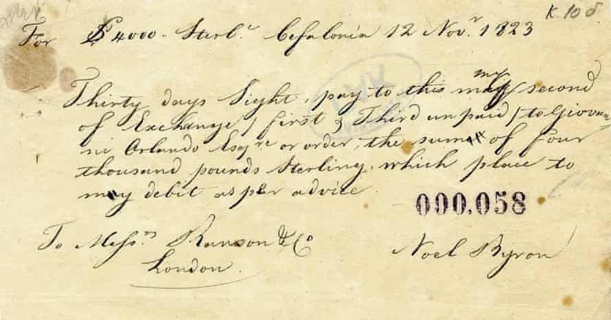 Note of exchange for £4,000 signed by Lord Byron. Photograph: General State Archives of Greece