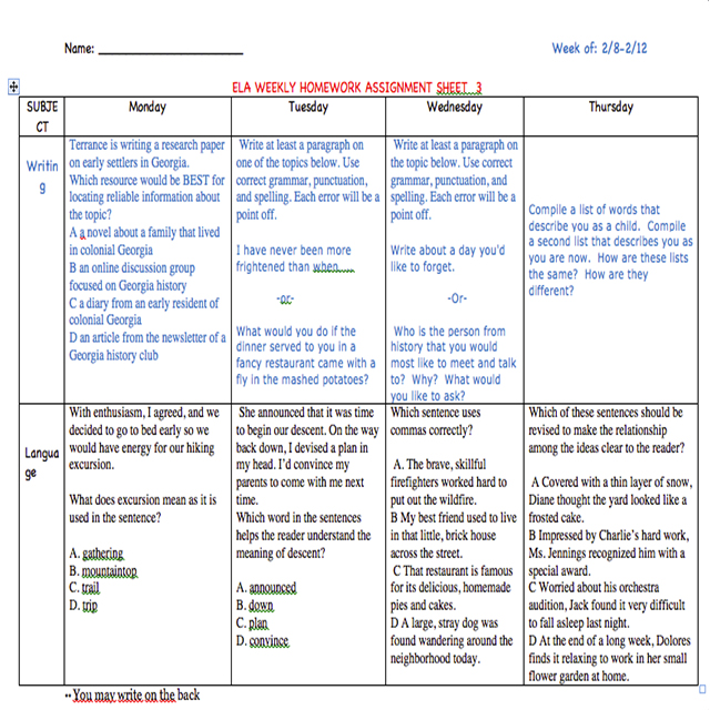 Keep students on track by using a weekly homework sheet. Encourage writing and language skills. This can be adopted and adapted to fit your student's needs