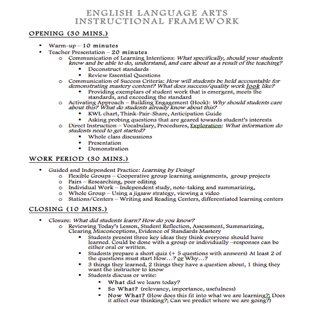 Instructional Framework   Use this Insructional Framework to help your class transition from the beginning, middle, and end.