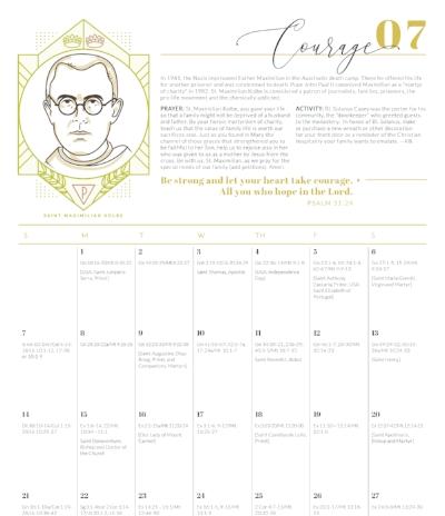 Year of Virtue Liturgical Calendar - Providential Co Kolbe