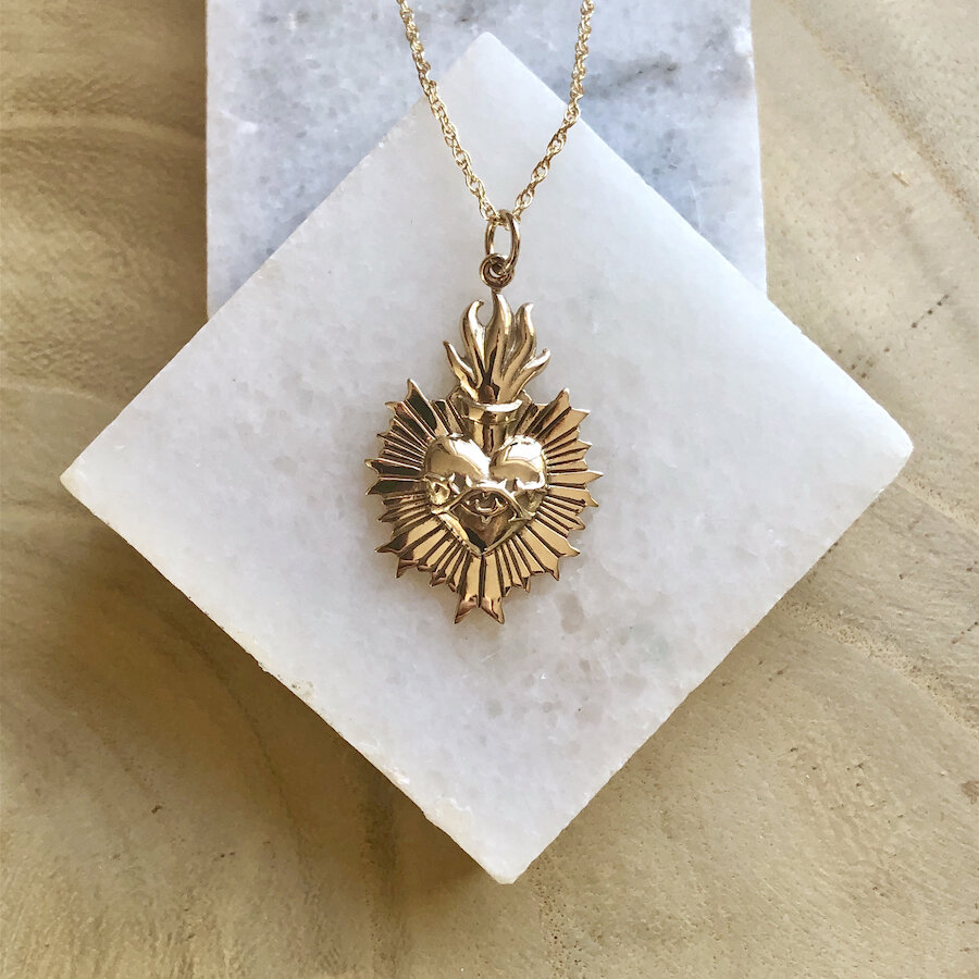 Necklace with sacred heart.
