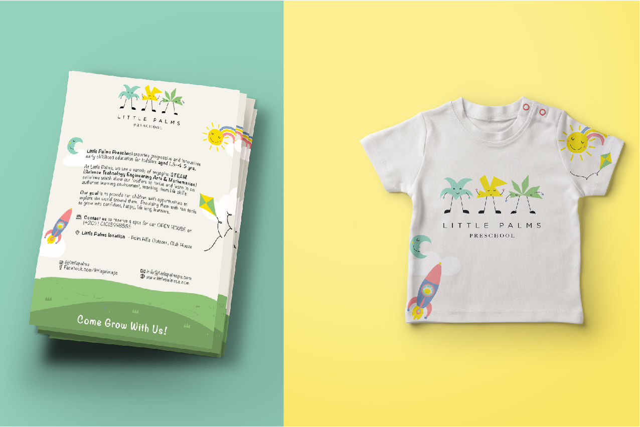Collaterals using the set brand language (Left to right): Flyer, T-shirt