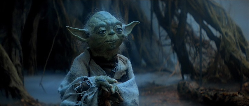 The exterior Dagobah scenes utilize an overhead ambient lighting style.