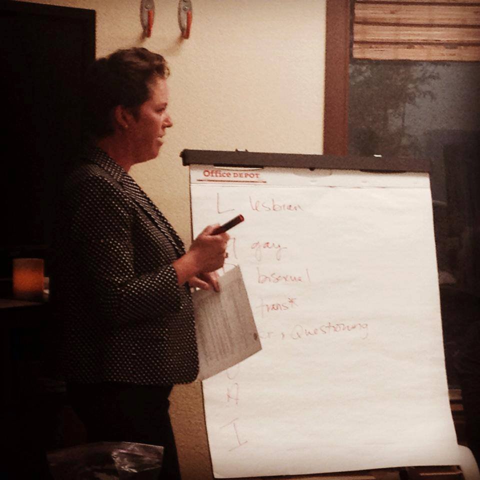 Heather leading an LGBTQ workshop