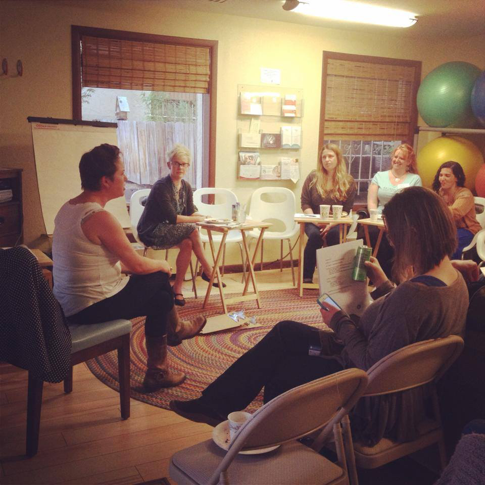 Heather and Zoe leading an LGBTQ workshop at Mountain Midwifery Center