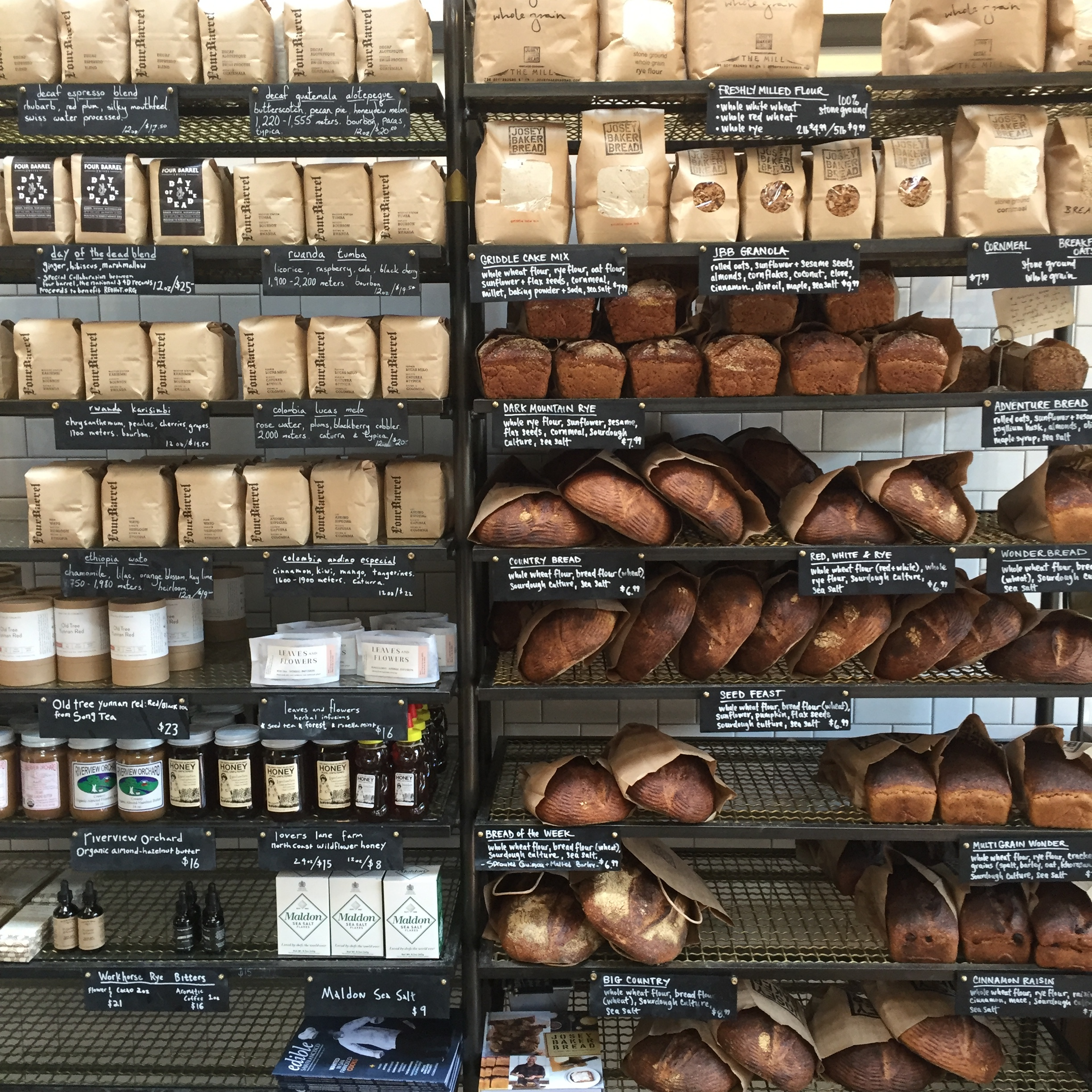 Locally made breads at The Mill.