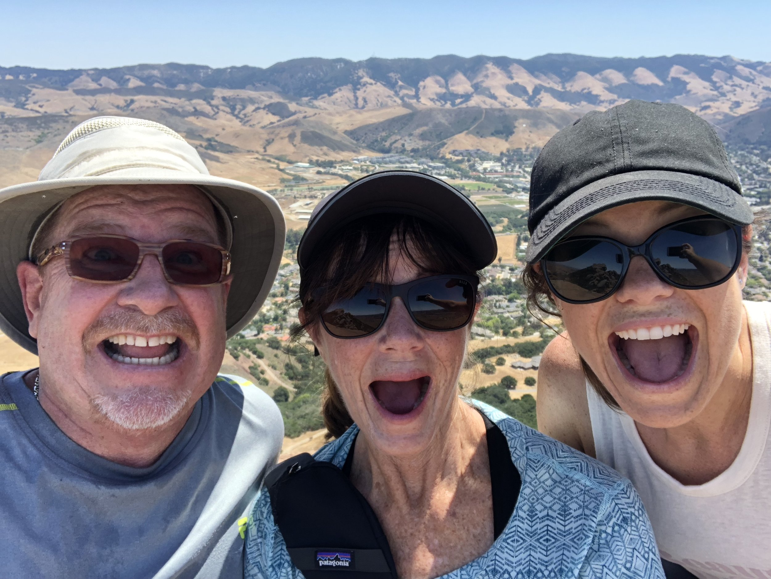 Our excitement in reaching the top of Bishop's Peak.