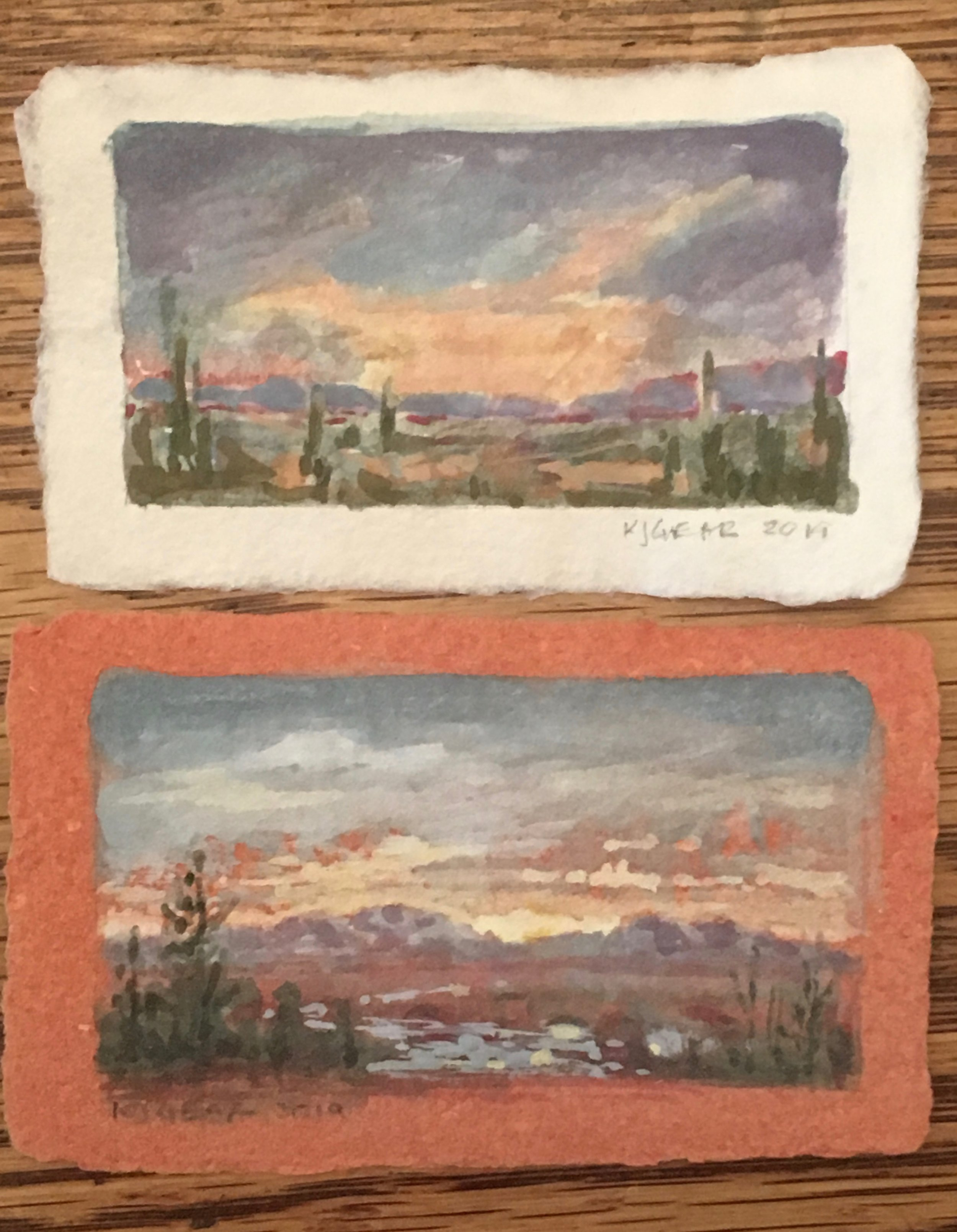 and k jodi gear used my papers for these paintings  out west the sky is bigger than here in the great northern forest.