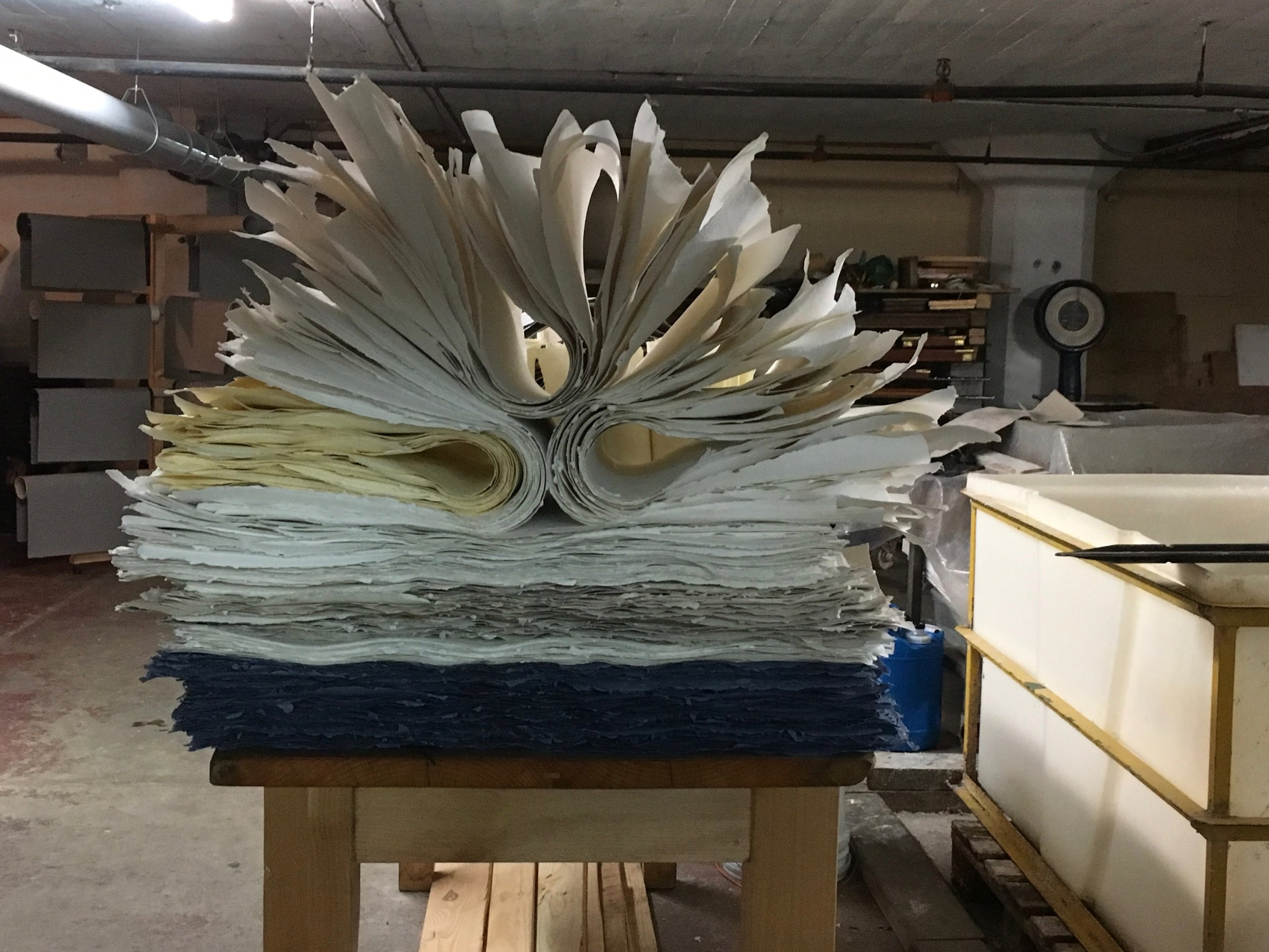 after loft drying the paper rests before being cold pressed.