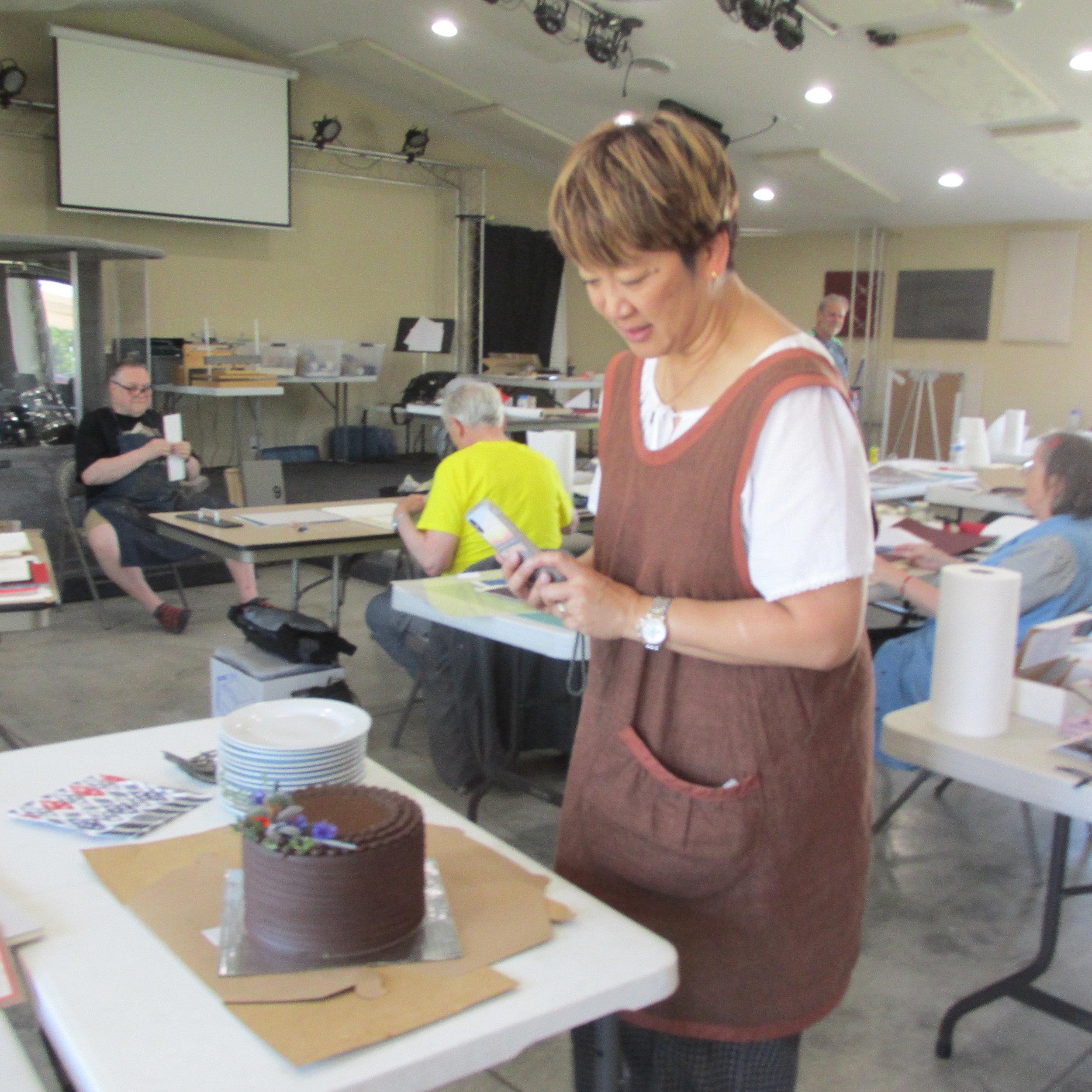 Cheryl and her cake