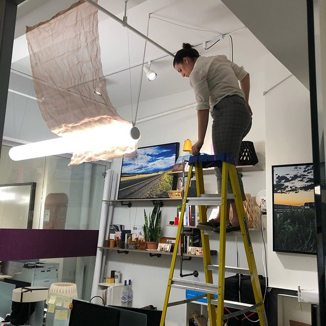 Moxie's @elainecook14 on a #mockupmonday - not just super sharp at computers and mechatronics, but pretty solid with a drill as well  #lighting #lightingdesign #architecture #womeninlighting #theshowroom1239 #nyclighting @barbicanlights