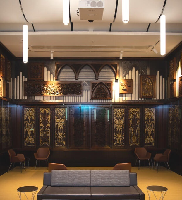 Gather in Style - A former carriageway has been reimagined as the new Taft Suite, an intimate room for meetings, dinners, and receptions. Historical art-carved wood panels, part of the screen from Music Hall's original pipe organ, have been lovingly restored and are displayed on its walls.