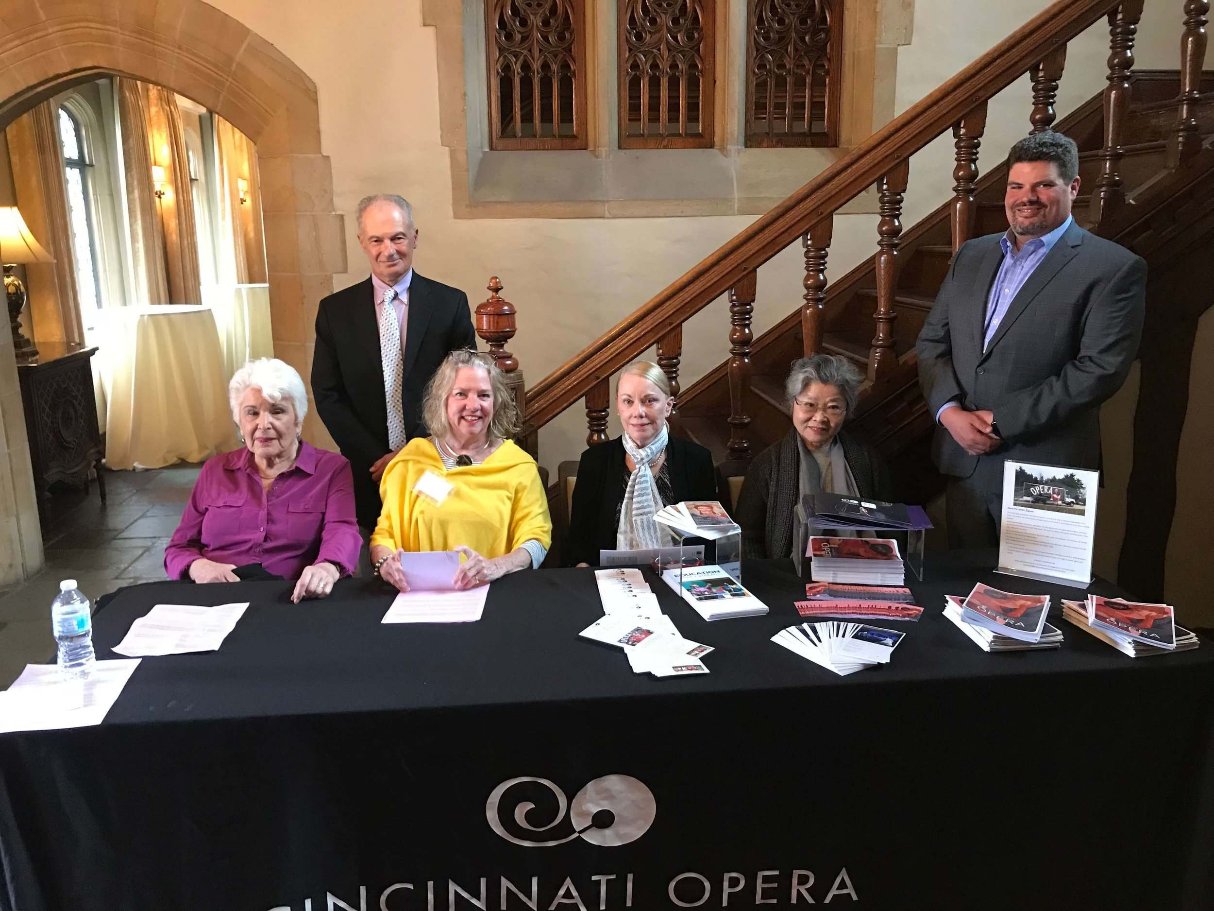 Members of the Cincinnati Opera Guild welcome guests to the  Ariadne auf Naxos  Opera Rap held at Pinecroft at Crosley Estate.