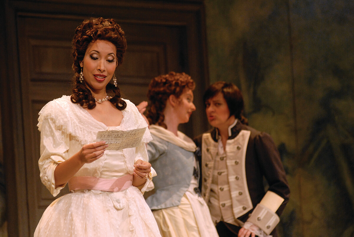 Countess Almaviva (Nicole Cabell) plots with Susanna (Sarah Tynan) and Cherubino (Marie Lenormand) in our 2009 production of  The Marriage of Figaro . Photo by Philip Groshong.
