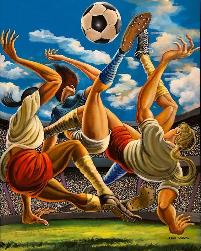 """Title IX"" 1999 by Ernie Barnes.  @caaminla #uswnt #womenssports #titleix #sports #equality #equity"
