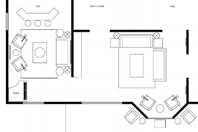 Example of a 2D floor plan of furniture placement.