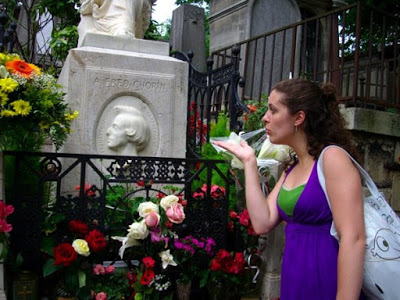 Miss Liz blowing a kiss to Chopin - Summer 2008