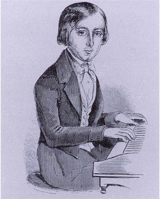 (drawing of the composer as a boy -he made his premiere at the age of 10!)