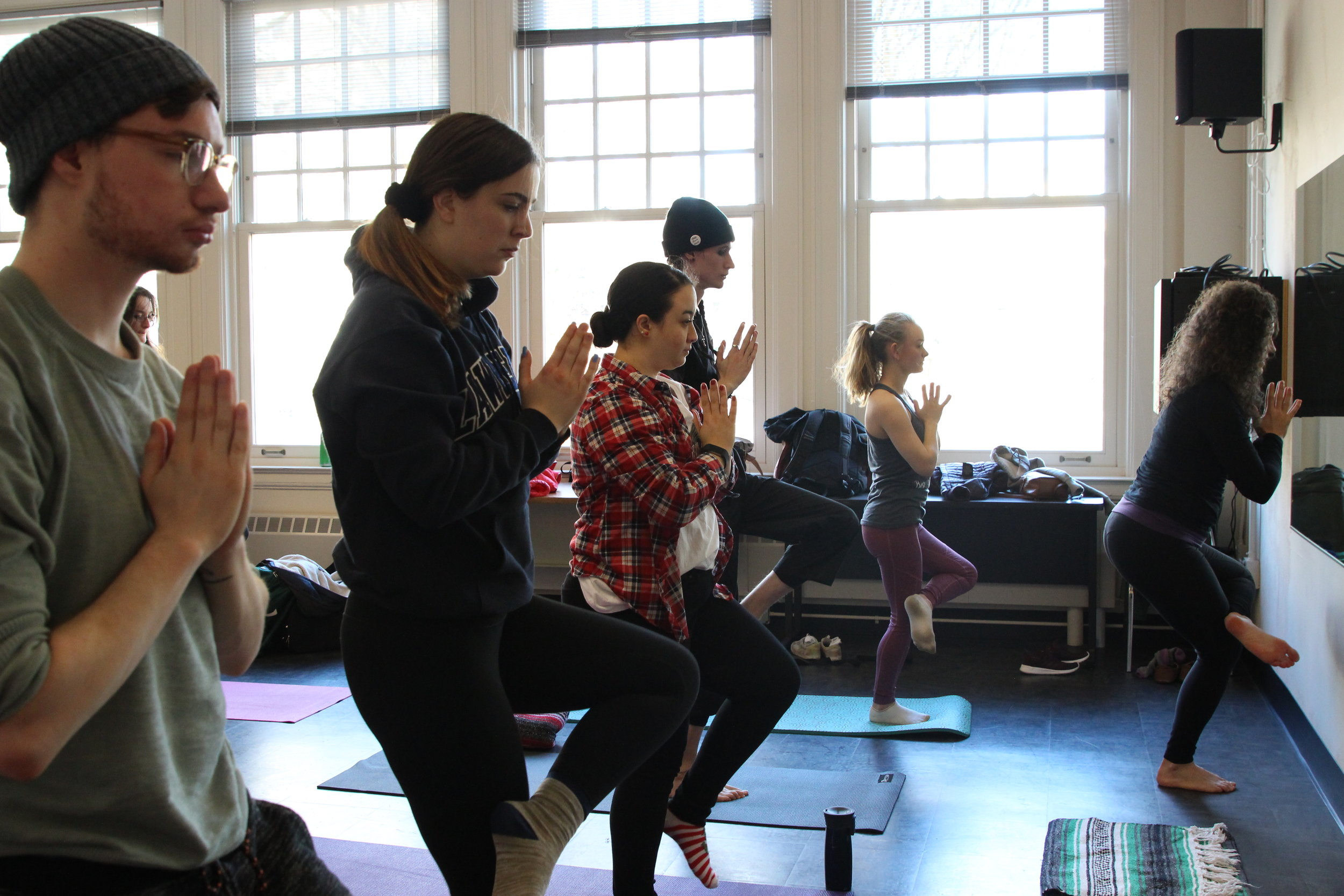 "Liz Kohl teaching her class, ""Yoga for Musicians"" at Portland State University.  Photo Credit: Maria Moreno"