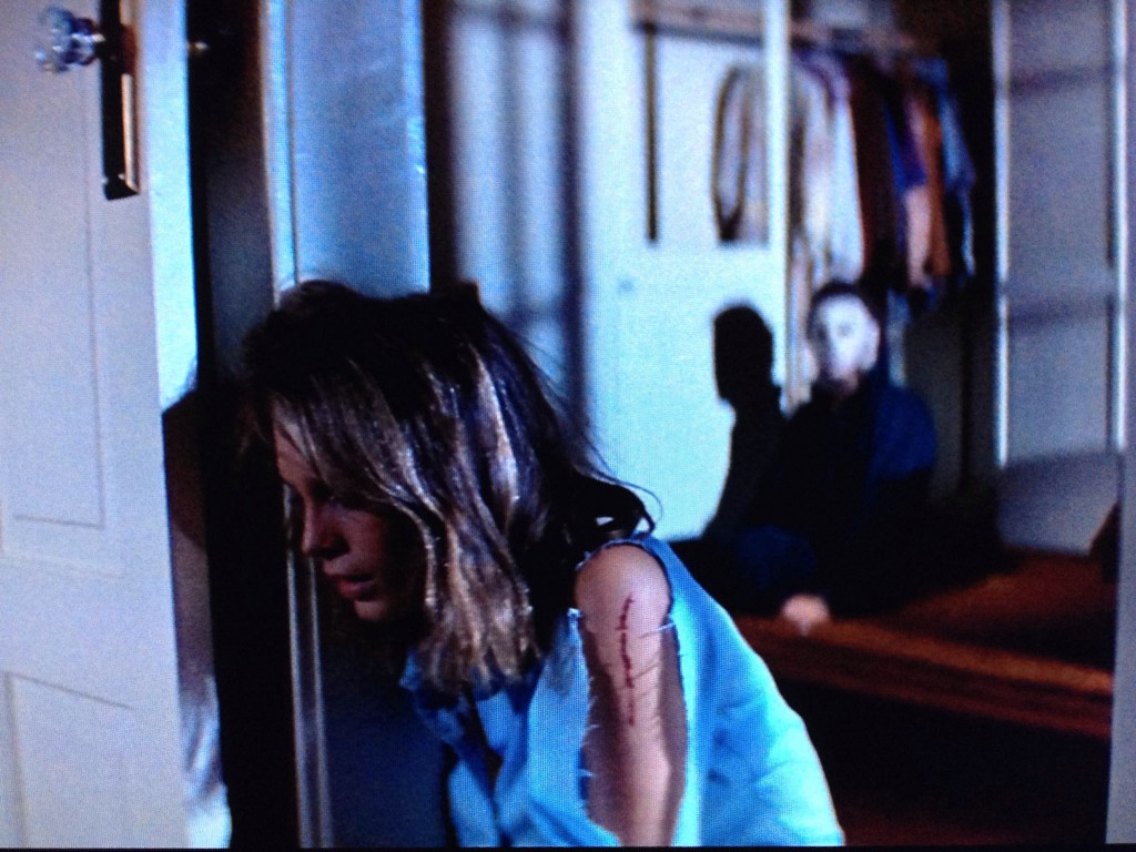 The above scene from Halloween (1978) goes on a lot longer than one would expect, to create suspense. Also why did she TURN HER BACK ON MICHAEL MEYERS??!!!