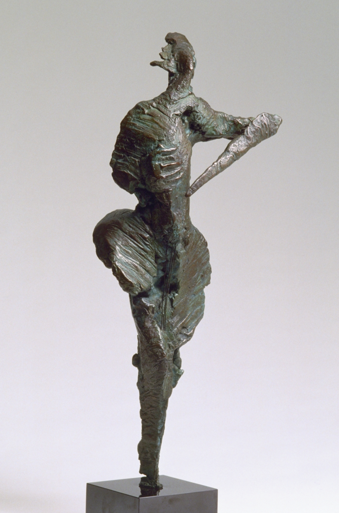 """DETAILS   Music  Bronze sculpture on wood base Edition 1/8 31 x 13 x 8 inches  EXHIBITION HISTORY 1989, Centro Cultural, Gral. San Martin, Buenos Aires, Argentina 1990, Museo de Artes Plasticas """"Eduardo Sivori"""", Buenos Aires, Argentina 2010, Broadfoot & Broadfoot, New York, NY 2012, Jewish Heritage Museum of Monmouth County, Freehold, NJ   COLLECTIONS Permanent collection of the Jewish Heritage Museum of Monmouth County, Freehold, NJ Private collection, New York Private collection, New Jersey Private collection, Texas"""