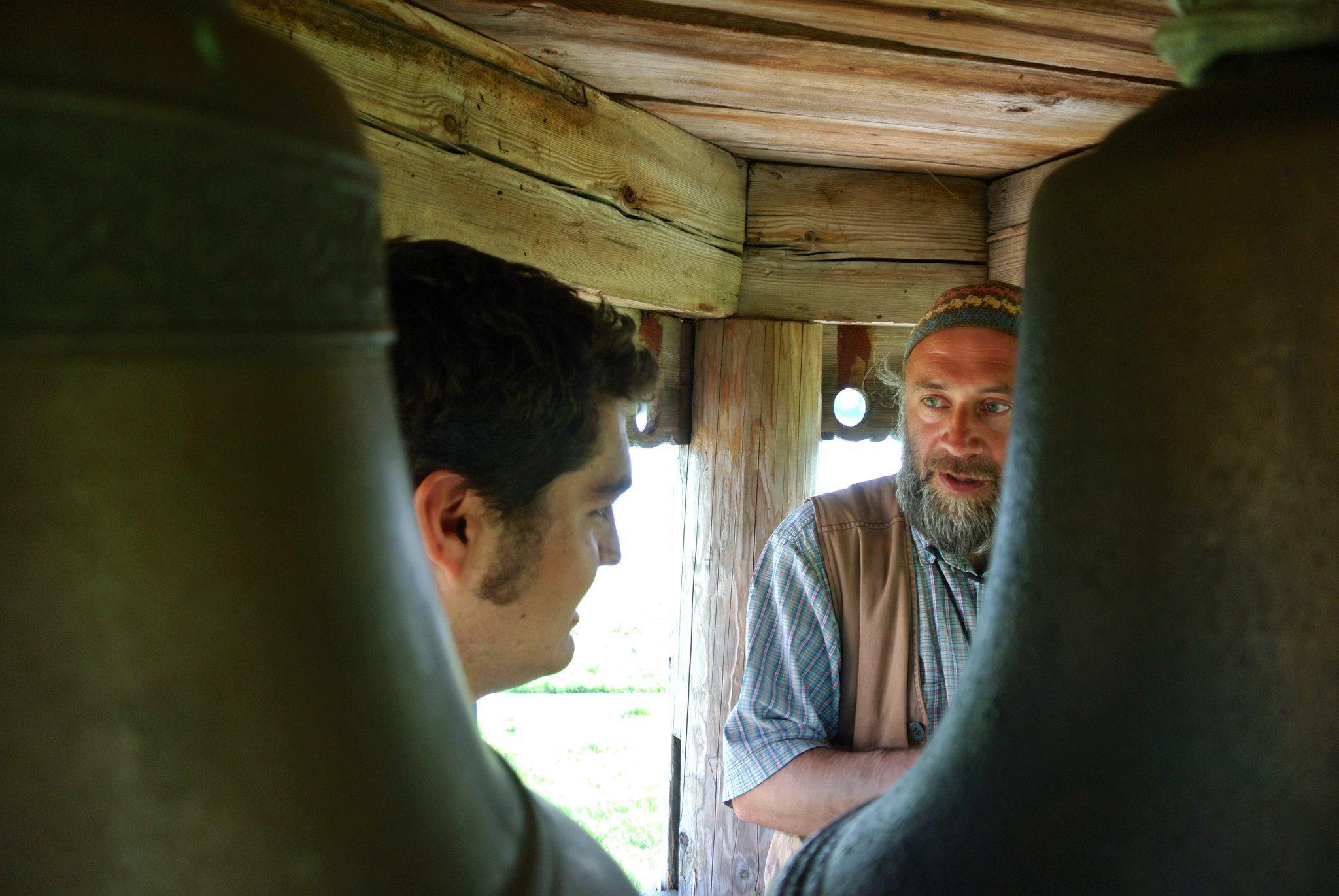 Michael with  zvonar  (bellringer) Igor Hutter on Kizhi island, Russia May 2013