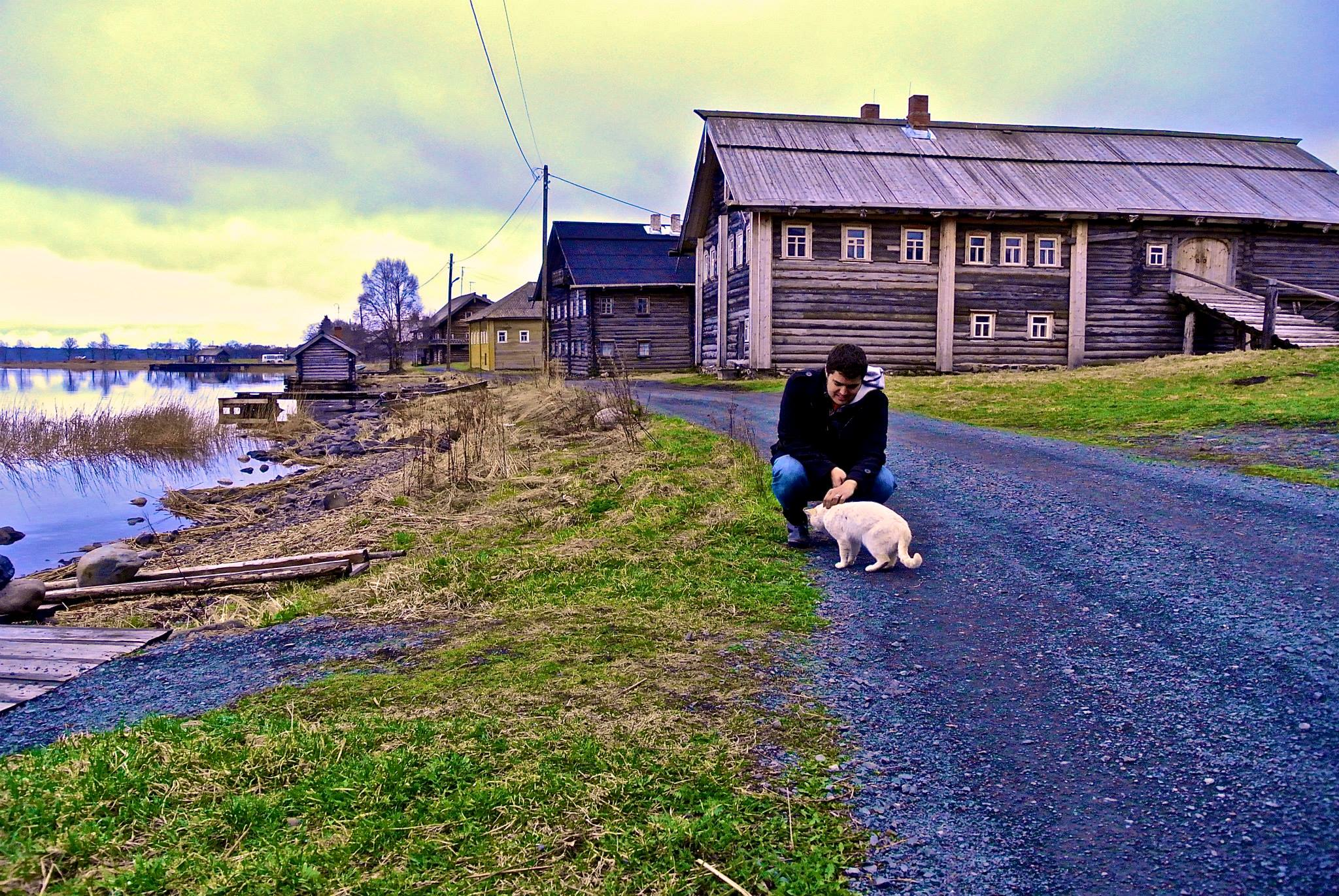 Michael being social with a cat on Kizhi island, Russia May 2013