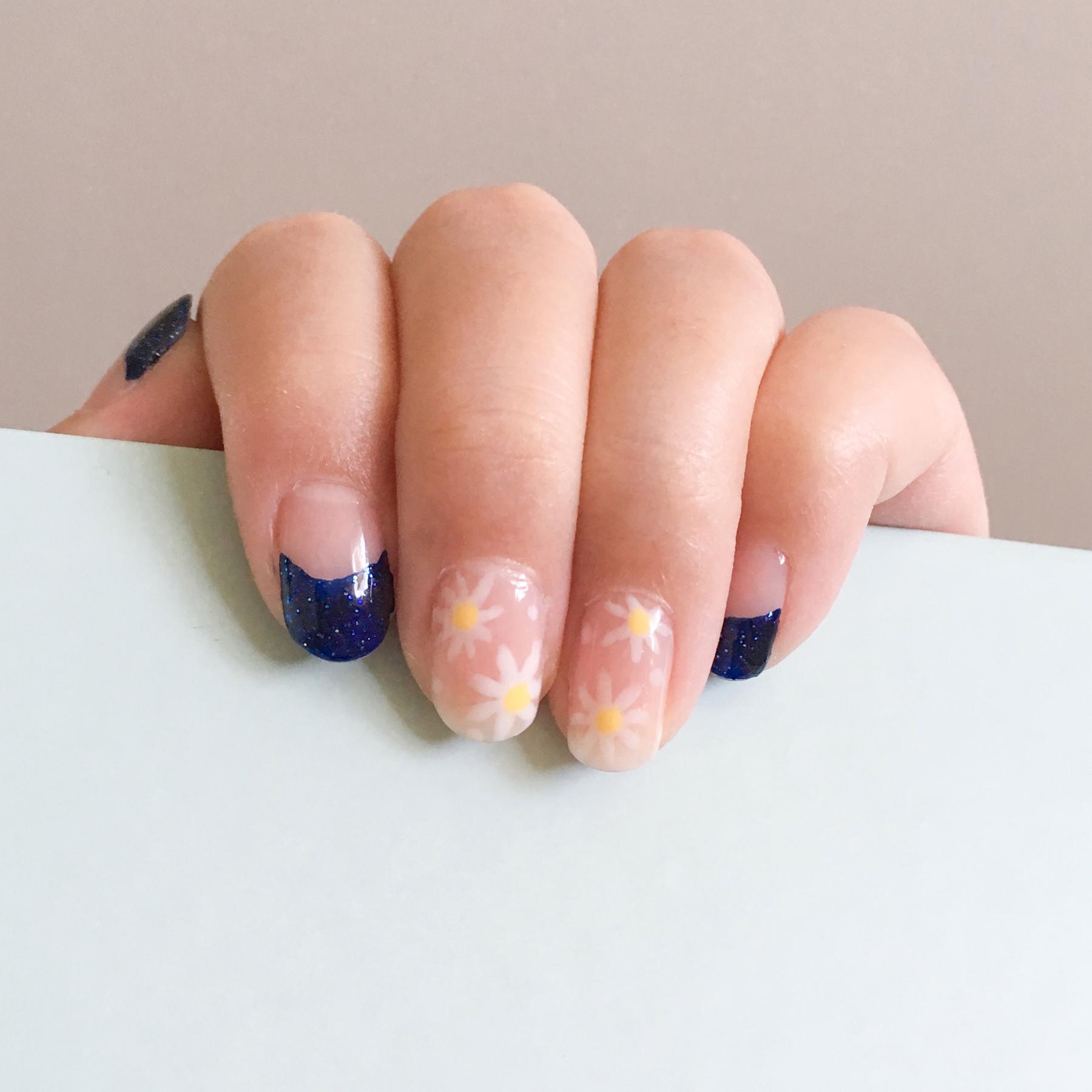 Base:Essie 160 Sugar Daddy /Navy:Essie 1145 Starry Starry Night /White: China Glaze 622 Moonlight /Yellow: Sally Hansen 360 Mellow Yellow