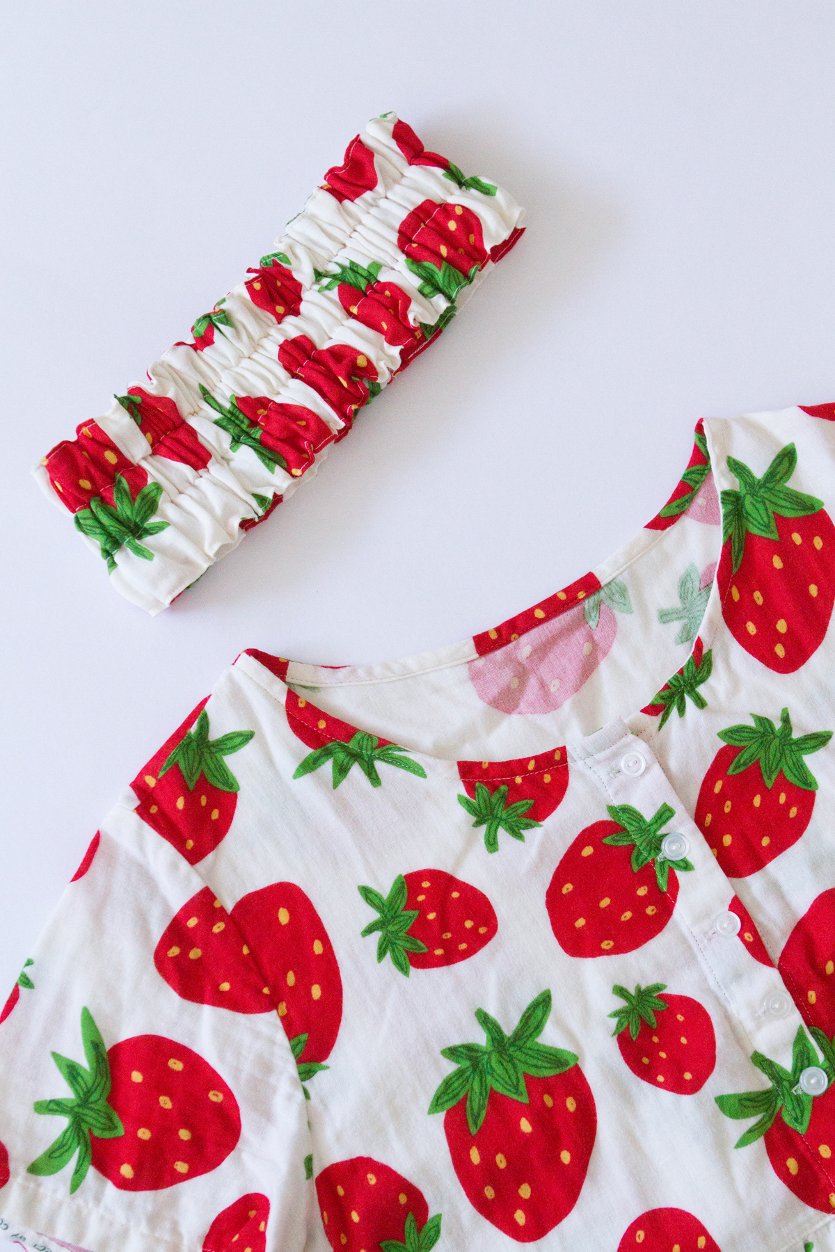 Strawberry print PJs I made before. I used the same pattern as this one.