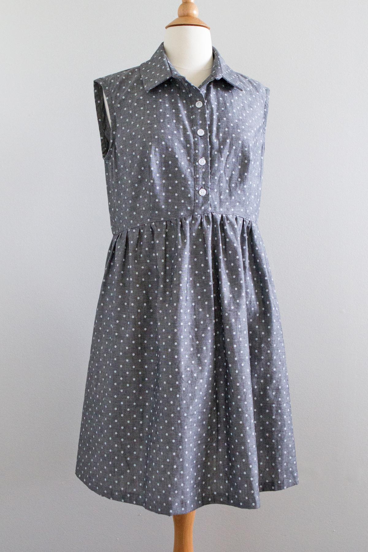 shirt dress with cotton dungaree