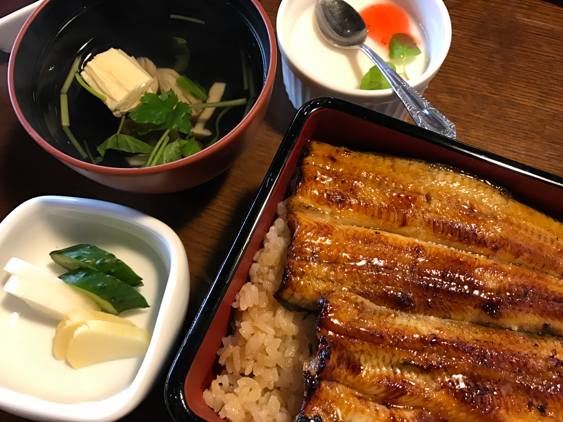 BBQ eel. So good! A little pricy because eels are rarer, but if you're in Japan, please try the freshly grilled eel.