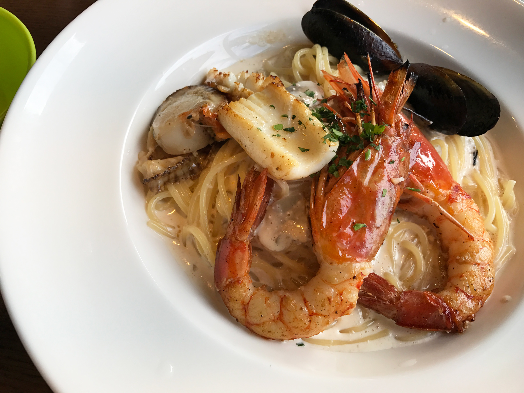 Seafood pasta! Must eat all the seafood while I'm in Japan.