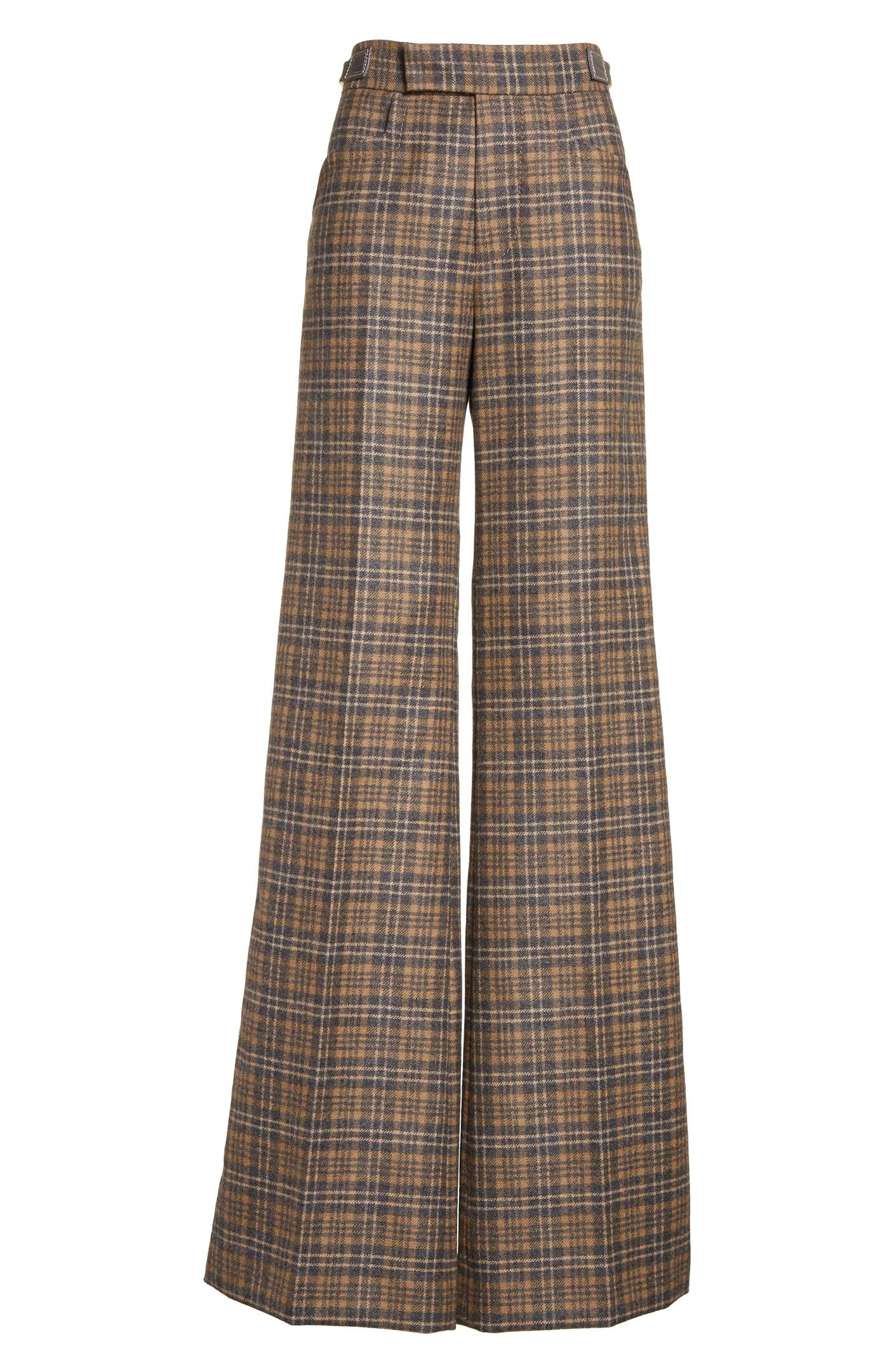 Plaid Wool Blend Wide Leg Pants