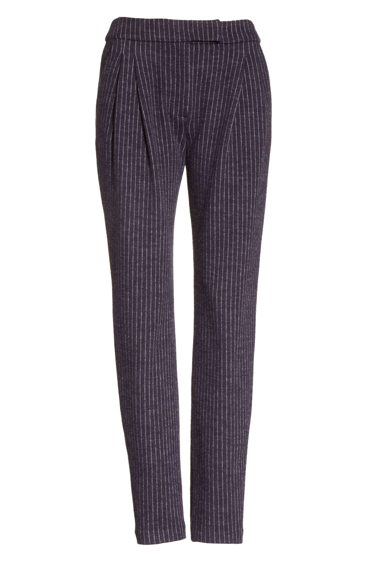 Pinstripe Pleat Front Jersey Pants