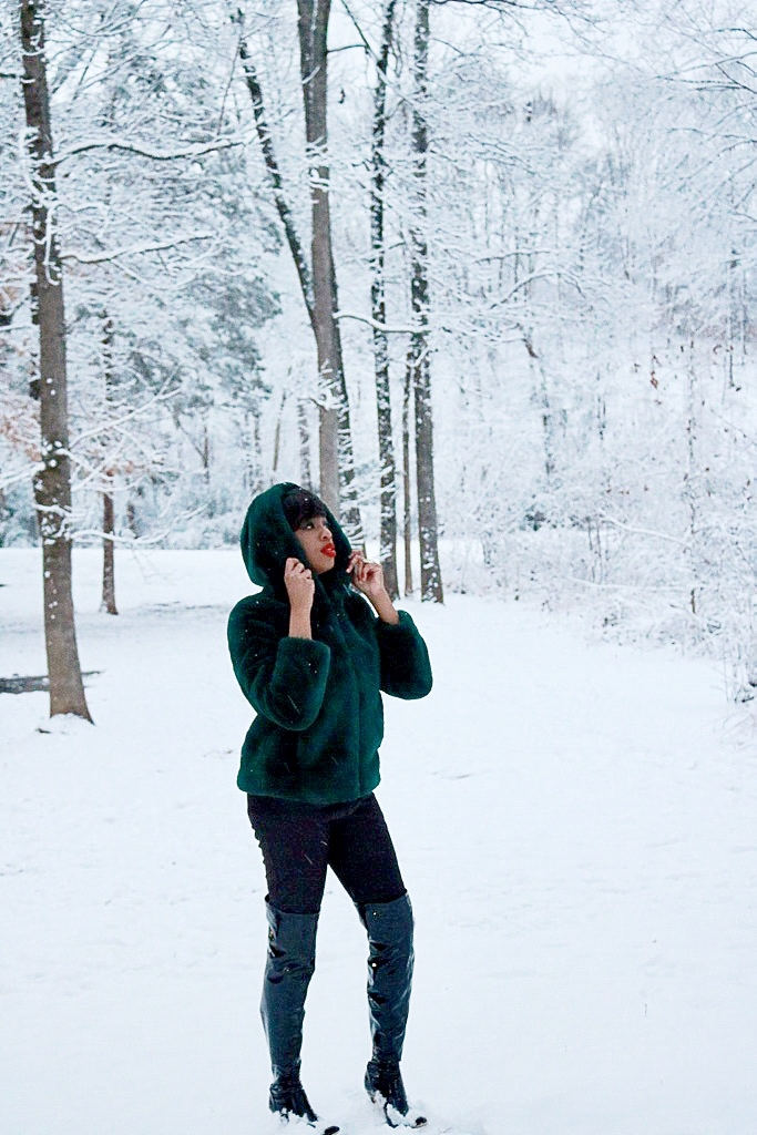 Winter in Emerald Green Faux Fur Coat