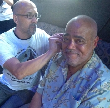 The NADA 5-point ear acupuncture protocol is not limited to the treatment of Addictions and PTSD.  It's also commonly used for disaster & trauma relief such as post-Hurricane Katrina and 9-11, wildfires and earthquakes.  In this photo, Bob provides volunteer NADA treatment for trauma relief following the Pulse tragedy in June 2016.  -