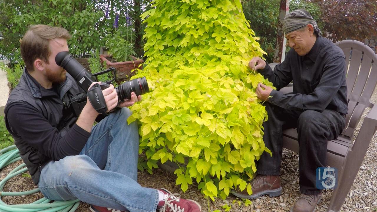 Zach filming with bronze sculptor Yoshitomo Saito at his studio in RiNo Art District in Denver, CO during season 3.  Photo by Bob Wolfson.