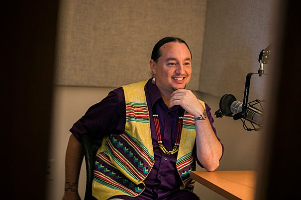 Marcus Briggs-Cloud is an indigenous Maskoke person and language preservationist. Photo by Stephanie Mitchell/Harvard